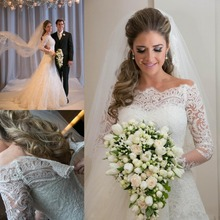 2015 Vestidos De Noiva 2014 Romantic Appliques Lace Wedding Dresses Vintage Long Sleeves A Line Bridal Gown Beach Wedding Gowns(China (Mainland))