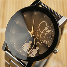 Hot Sale Lovers Diamond Bling Full Stainless Steel Black Quartz Wrist Watch Wristwatches for Women Men Durable
