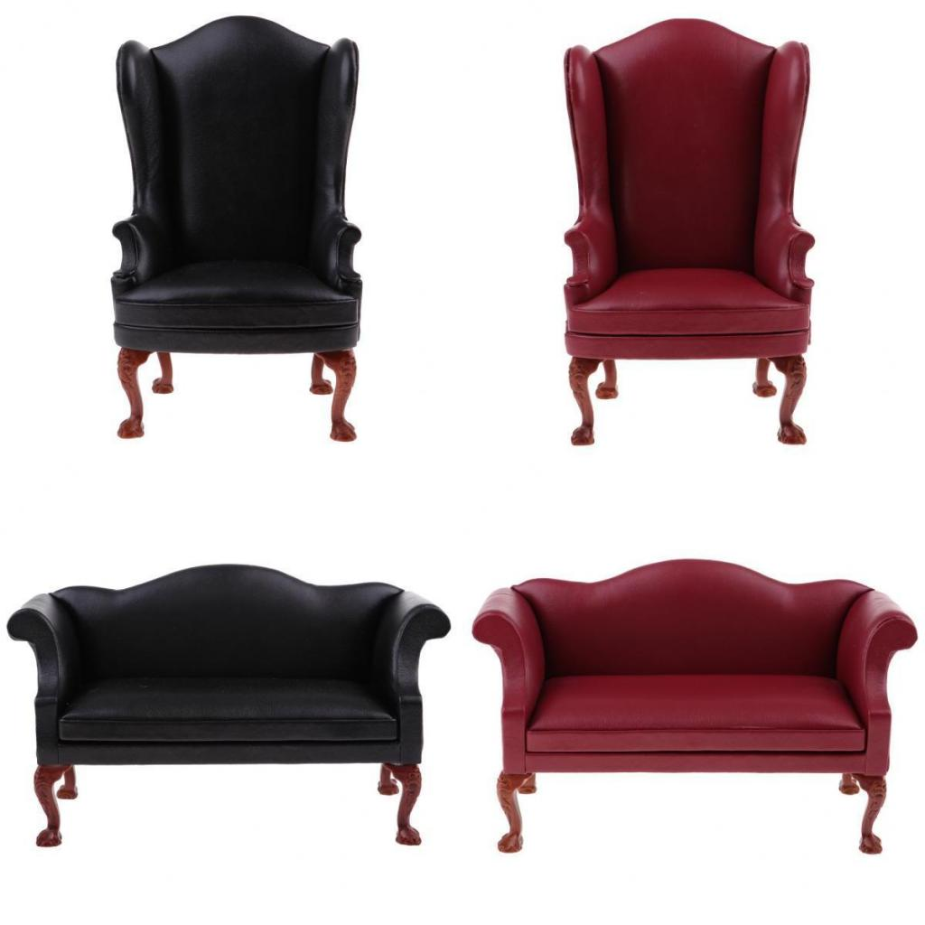 1/6 Scale Dollhouse Miniature Faux-Leather Single Sofa Armchair Couch Furniture for 12'' Hot Toys Sideshow Action Figure Doll