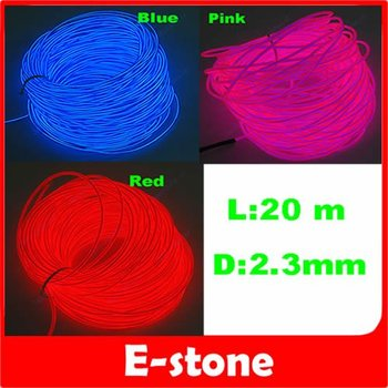 D19+Free Shipping 20m Flexible Neon Glow Light EL Wire Rope 110V-220V Pin 3 Different Colors to Choose