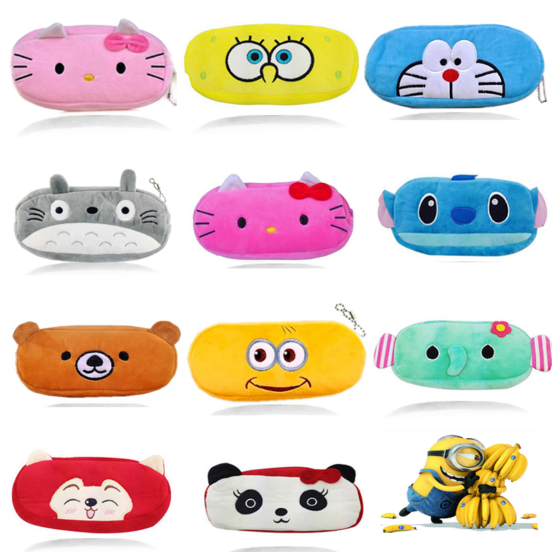 Гаджет  2015 Cute Cartoon Minions Hello kitty Pencil Case Plush Pencil Bag Estuches School Supplies Material Kids Girl Women For Gift None Офисные и Школьные принадлежности
