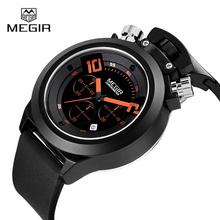 MEGIR Fashion Diver Sports Watches Men Auto Date Waterproof Silicone Quartz Watch Military Watches Hours Clock relogio masculino(China (Mainland))