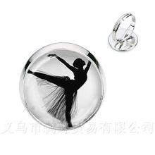 Elegante Balletto di Danza Anelli Irlandese Danza Ginnastica Dancer Ballerina Argento/Golder 2 di Colore Regolabile Anelli Regalo(China)