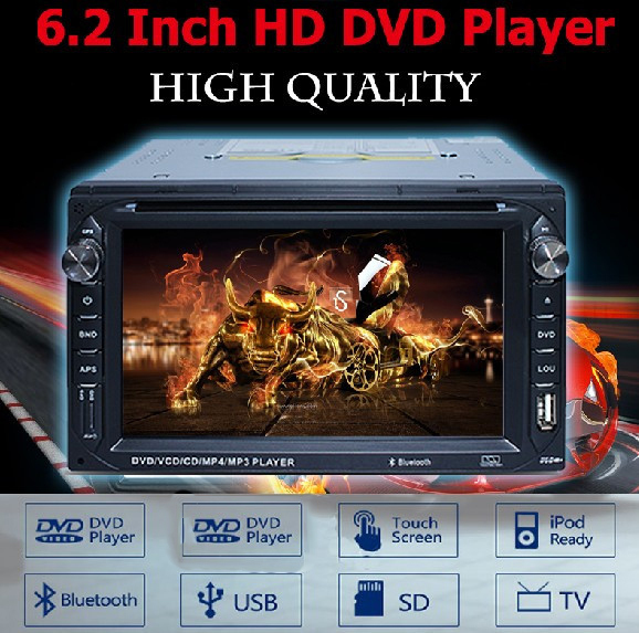 """Car audio stereo radio 2 din 6.2"""" In dash Car dvd player Bluetooth Touch Screen MP3/MP4 Player FM USB SD TV NO GPS Navigation(China (Mainland))"""
