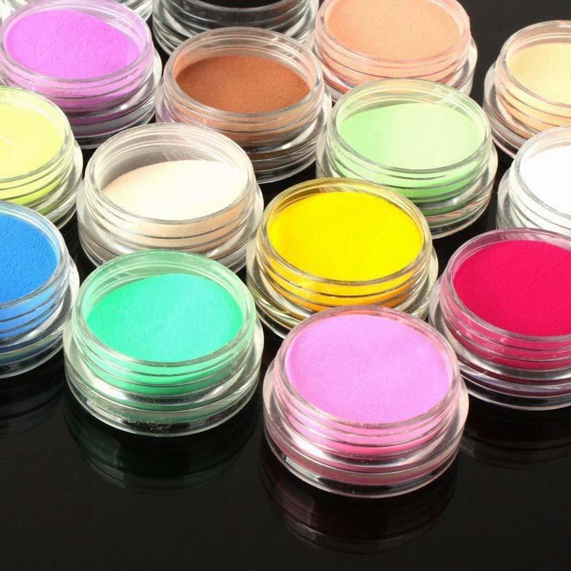 12 Bottle/Set Nail Glitter Powder Dust Glitter Powder for Acrylic UV Gel Decoration DIY Manicure Beauty Tools (Random Color )(China (Mainland))