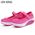 LIN KING New Style Breathable Air Mesh Swing Shoes Women Spring Wedge Heels Elevator Shoes Platform
