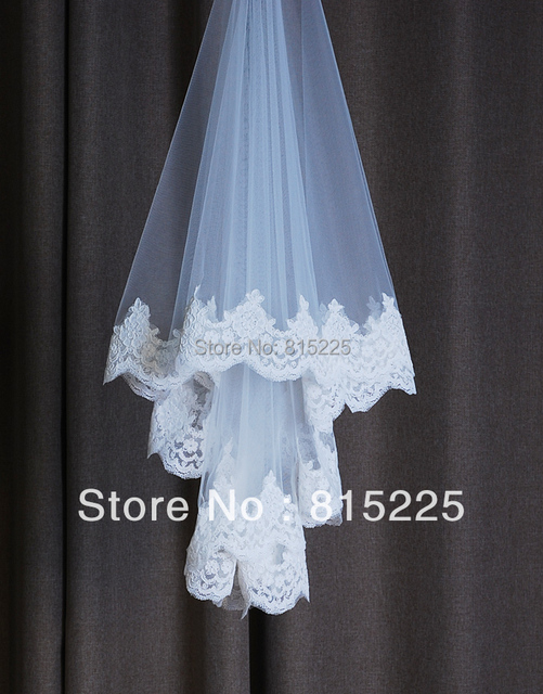 Ravishing Wedding Accessories Bridal Decoration  Tulle Lace One Layered Lace Edge   Custom Made Length  Applique Sequin