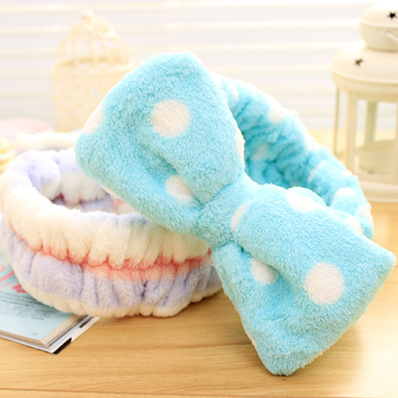 New Multifunctional Flannelette Bows Elastic Headband for Bath Shower Exercise Headwear Hair Accessories(China (Mainland))