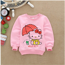 Spring brand girls sweatshirt Cotton Kawaii Fashion children cartoon cat Tracksuit long t shirts kids tops hoodies mini rodini