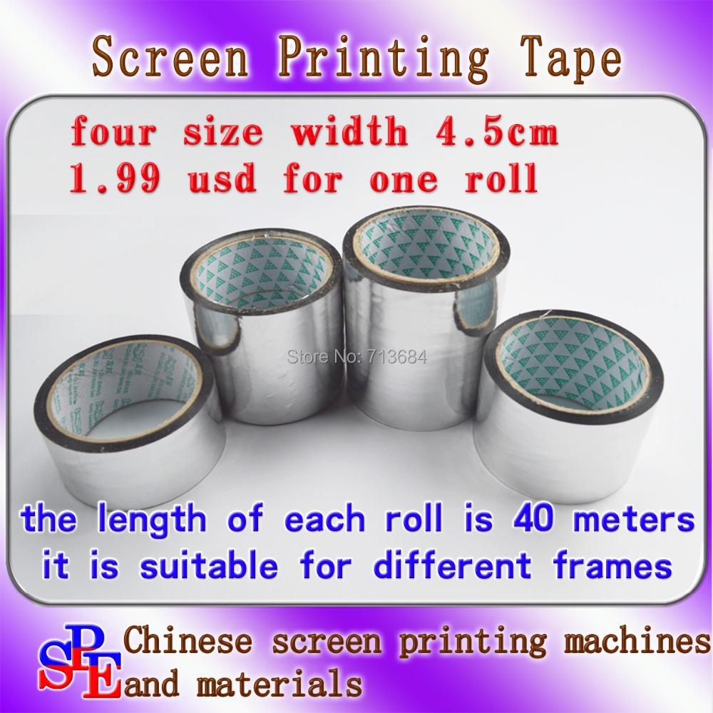screen printing 4.5cm aluminium tape screen printing adhesive tape foil tape screen press length 40 meters in screen frame(China (Mainland))