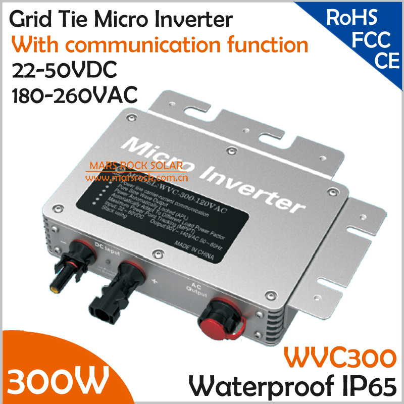 300W Waterproof Grid Tie Micro Inverter with Communication for 300W PV Panel 22-45VDC 190-260VAC MPPT Pure Sine Wave Inverter(China (Mainland))