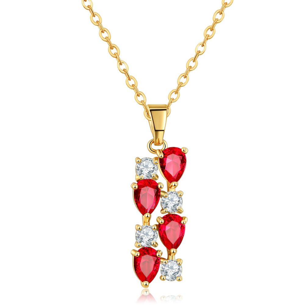 ZuanLiFang Vintage Jewelry Red Zircon Pedants Neckalce For Women New Statement Collar Necklaces Wholesale Price(China (Mainland))