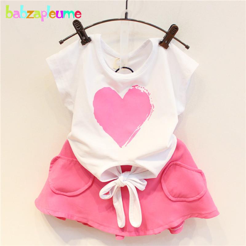 2PCS/0-7Years/2016 New Kids Summer Clothes Baby Girls Suits Heart Short Sleeve T-shirt+Shorts Brand Children Clothing Set BC1154(China (Mainland))