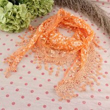 2015 1pc Women Hollow Tassel Lace Rose Floral Knit Triangle Scarf Embroidered Tassel scarves All-match Shawls & Wraps(China (Mainland))