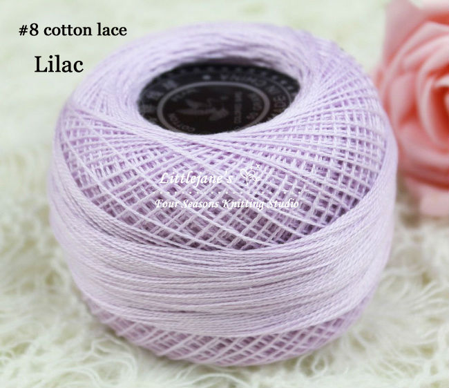 Jane's Yarns~best selling~pure cotton lace yarn~color lilac~spring&summer~handknit or crochet~1kg freeshipping(China (Mainland))