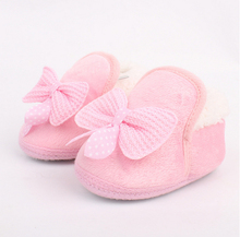 2015 Lovely Winter Warm Baby Shoes Soft Bottom Non-slip Bow Toddler shoes First walkers Freeshipping(China (Mainland))
