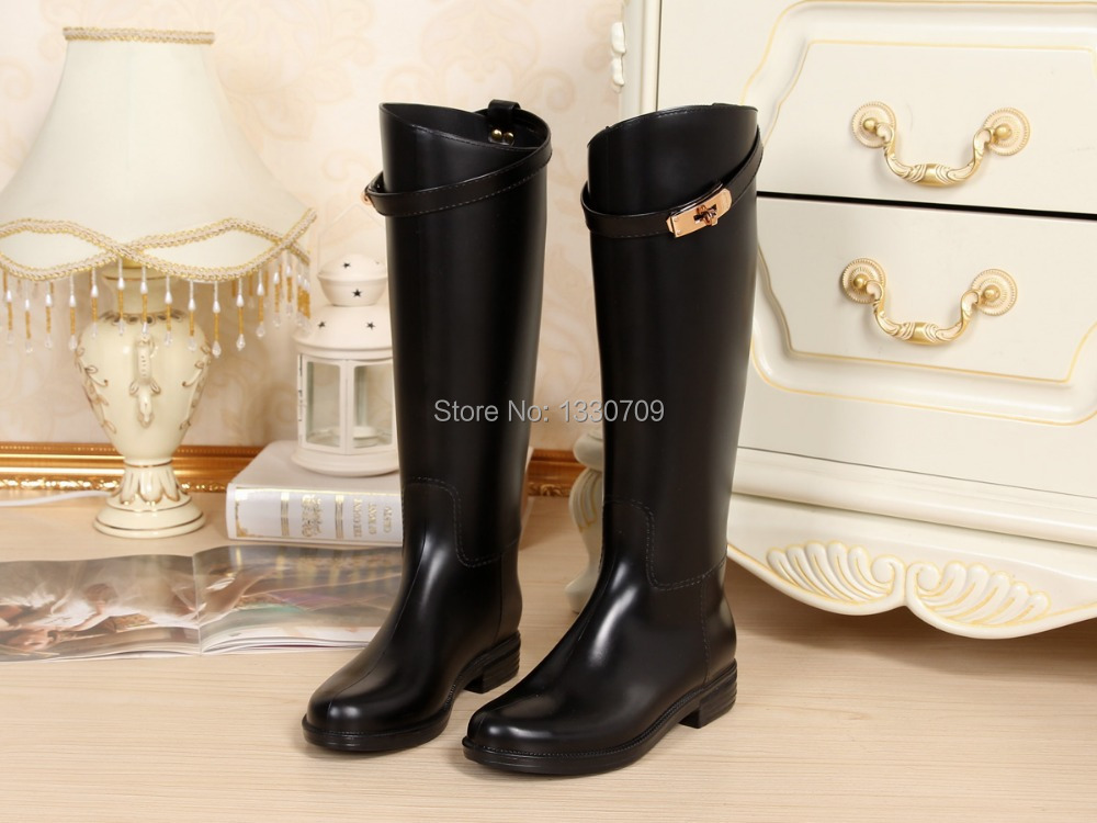 2015 New Arrival,high style,fashion rain boots waterproof women wellies boots,branded luxure rain boot . kelly belt rain boot(China (Mainland))