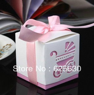 2016 fashion baby shower (pink)5ribbon Wedding favor paper box favour gift candy boxes Best - Health & Life store