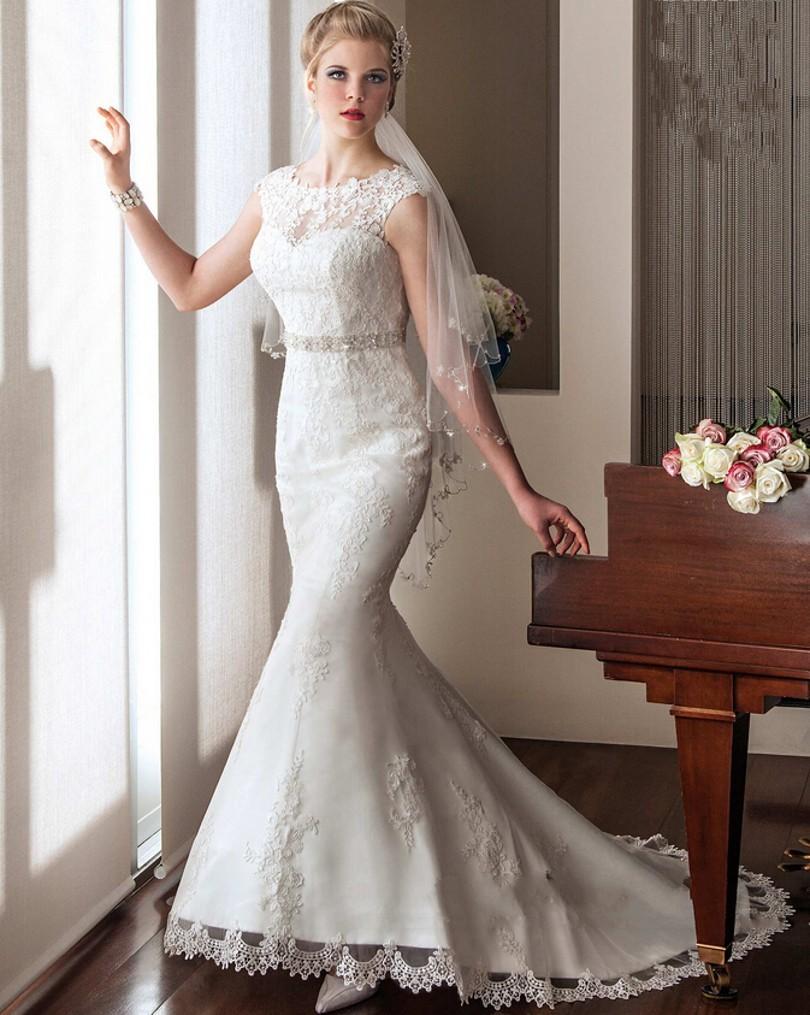 Vestido casamento дешевые свадебное платье 2016 новый сексуальный see through scoop шеи элегантный аппликации из бисера талия русалка свадебные платья