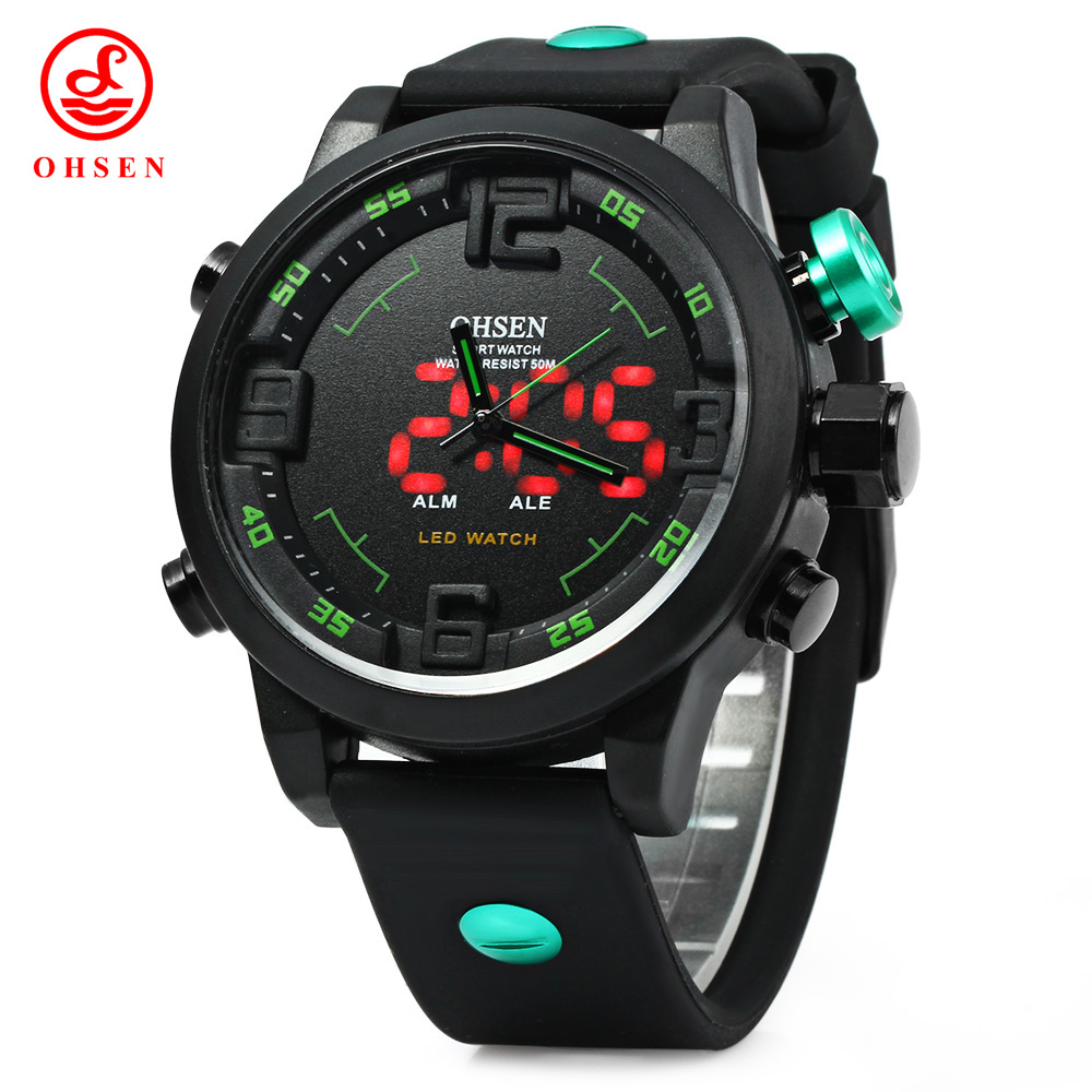 Fashion OHSEN AD2820 Men Silicone Sports Led Quartz Watch Double Movement 5ATM Waterproof Military Watch Male Relogio Gift<br><br>Aliexpress