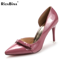 Buy Female High Heels Shoes Women Pumps Thin Heeled Pointed Toe Patent Leather Bowknot Shoes Party Sexy Fashion Footwear Size 35-39 for $33.29 in AliExpress store