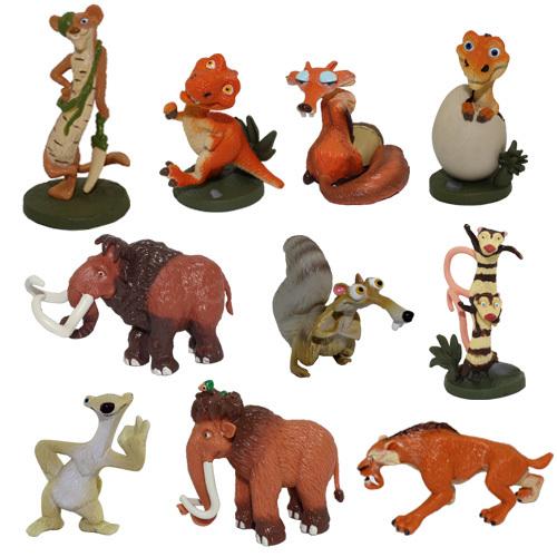 AliExpress.com Product - FREE SHIPPING Anime Cartoon Ice Age 4cm-6cm Buck/Ellie/Scrat/Dinosaur Mini Figure Set of 10pcs