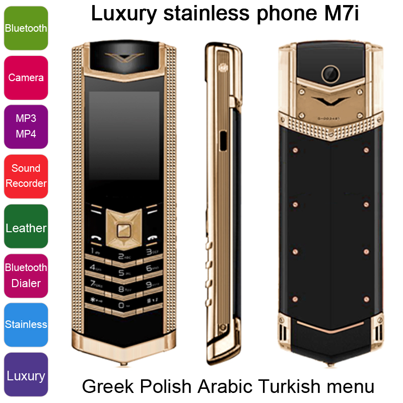 2015 Russian Greek Polish Arabic Turkish bar Luxury bluetooth dialer Stainless steel metal Quad band Mobile phone M7i P430(China (Mainland))