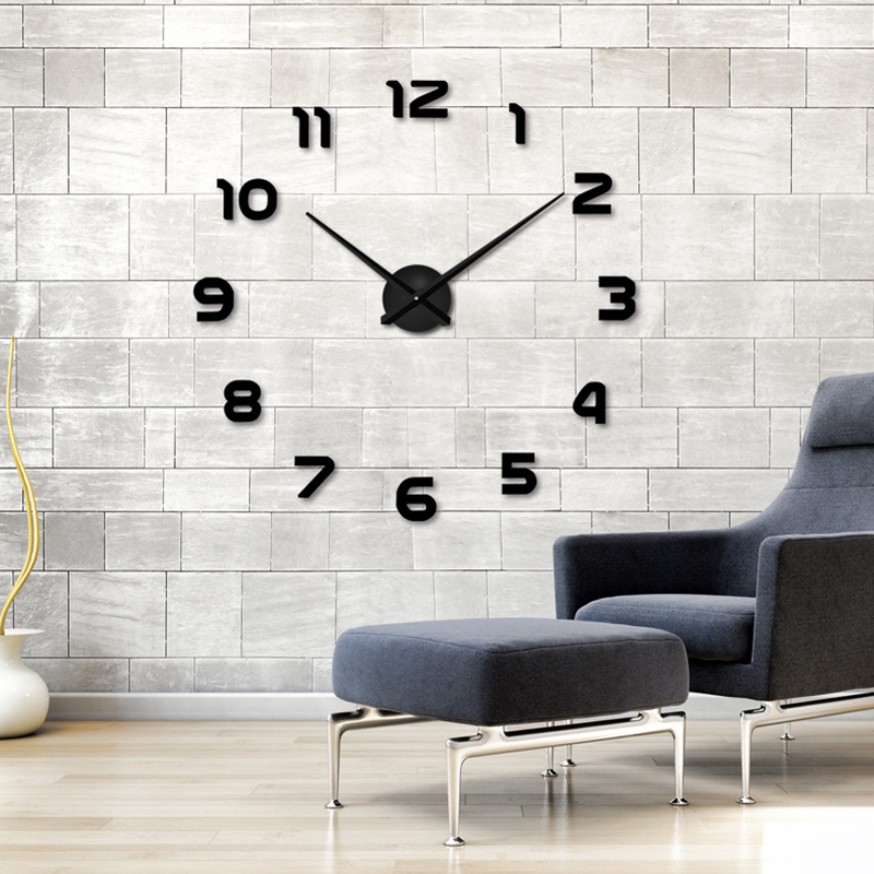 2017 New Home decoration wall clock big mirror wall clock Modern design large size wall clocks.diy wall sticker unique gift free(China (Mainland))