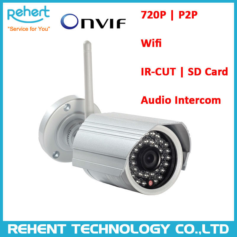 720P ONVIF Wireless Wifi P2P HD IP Camera Support SD Card,Audio Function IR Infrared outdoor bullet kamera night distance 15M(China (Mainland))