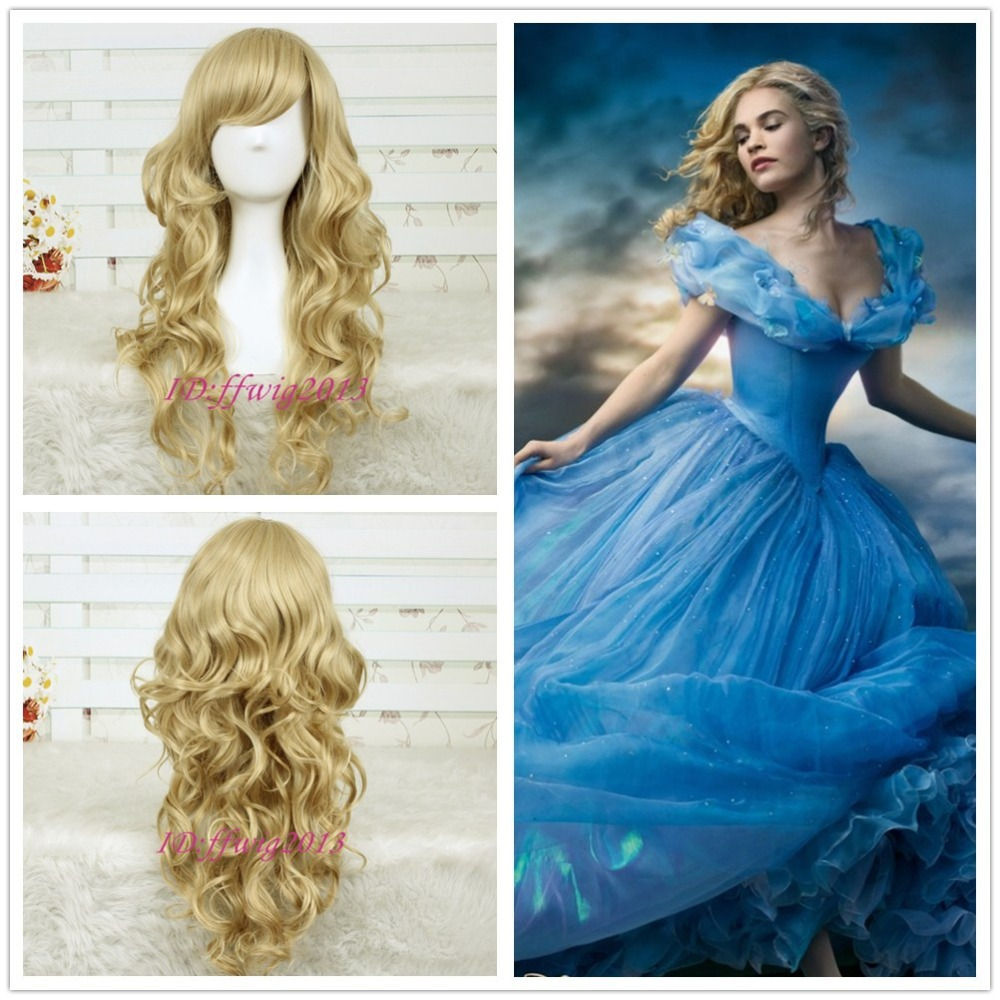 2015 New Movie Princess Cinderella Wig Long Curly Ash Blonde Anime Cosplay Wig+a wig cap - min cheng store