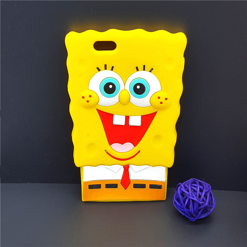 "New 3D Cartoon SpongeBob Case Soft Silicon Back Cover Apple iPhone 4 4S SE 5 5S 5C & 6 6S 4.7"" & 6 6S Plus 5.5"" Rubber Shell"