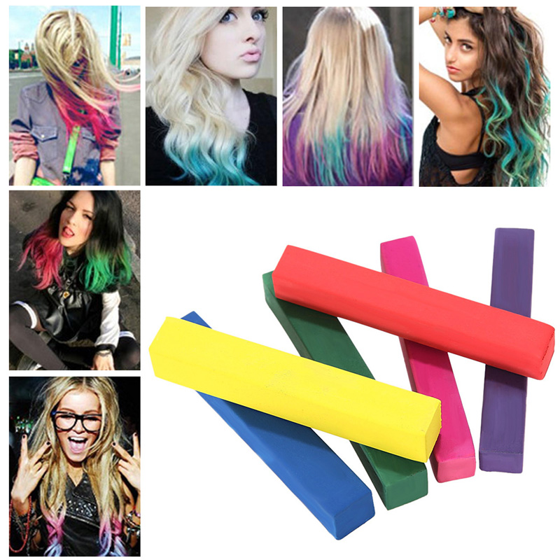 2016 Beauty 6 PCS Convenient Temporary Super Hair Dye Colorful Chalk Hair Color Alcohol-Free chalks for the hair giz pastel ST1#(China (Mainland))