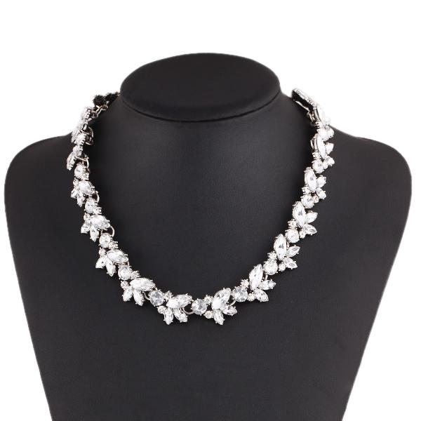 New Design hot sale Fashion Charm Crystal bib choker Necklace rhinestone gem flower Chain Necklace jewelry