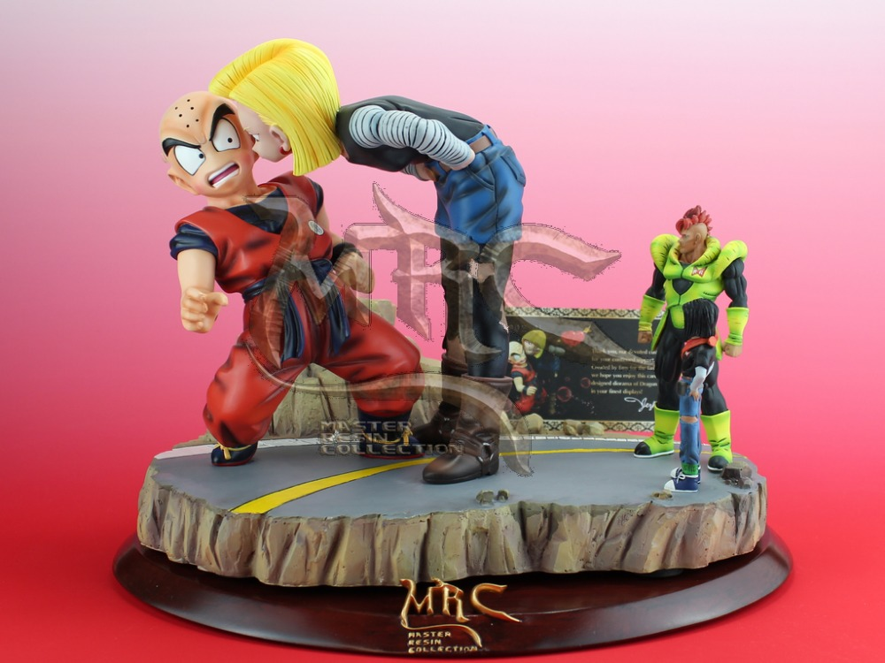 MODEL FANS MRC Dragon Ball Z 28cm Android 18 lazuli kiss Krillin gk resin action figure toy for Collection(China (Mainland))