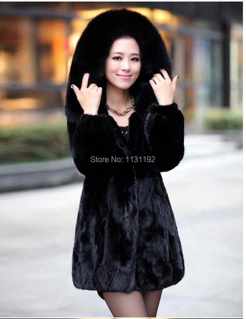 2014 Winter Women's Rabbit Fur Coat Fox Fur Collar Medium-long Hooded Thicken Fur Coats Plus Size S-XXXL-4XL Overcoat 2014 fur(China (Mainland))