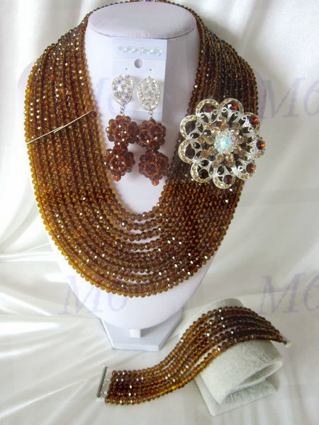 2015 Fashion african crystal beads necklace set nigerian wedding african beads jewelry set Free shipping P-1614<br><br>Aliexpress