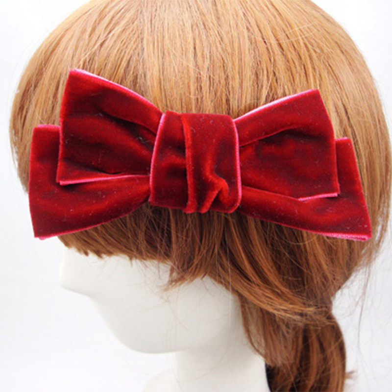 1Korean Women Velvet Bow Barrette Lovely Girls Hair Clips Ladies French Fashion Accessories - SUSAN BEAUTY store