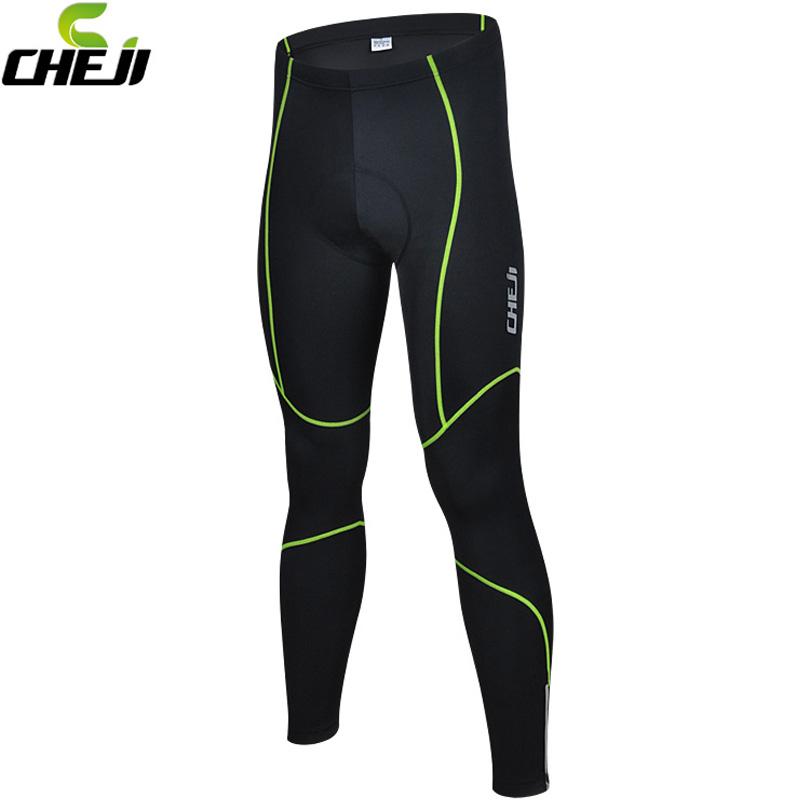 2016 Reflective Stripe Black CHEJI Pants Men Bicycle 3D Gel Padded Pants Long Cycling Bike Tights Pad Trousers Size M-XXXL<br><br>Aliexpress