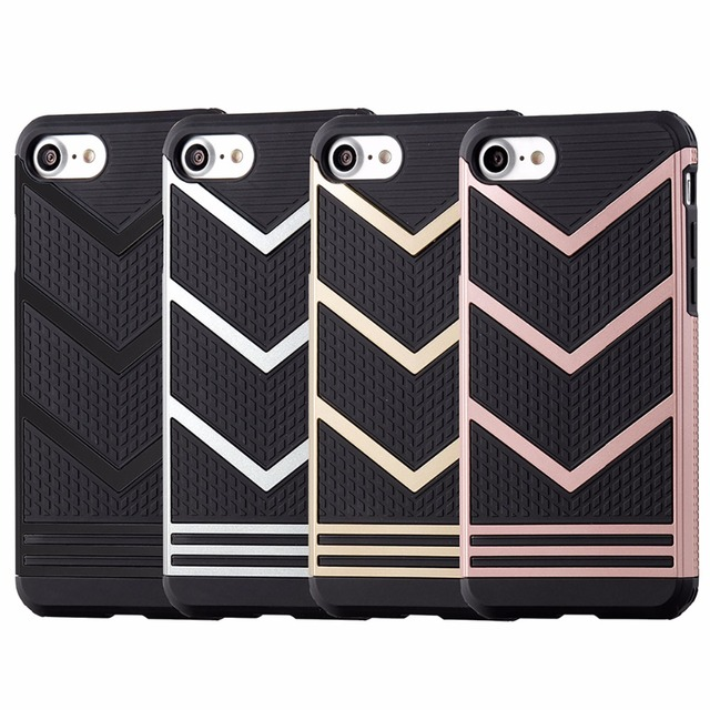 LENTION Ultra Protective Armor Case for iPhone 7 & 7 Plus / Rugged Stylish Coque / New Fashion Phone Cover / Black Gold Silver