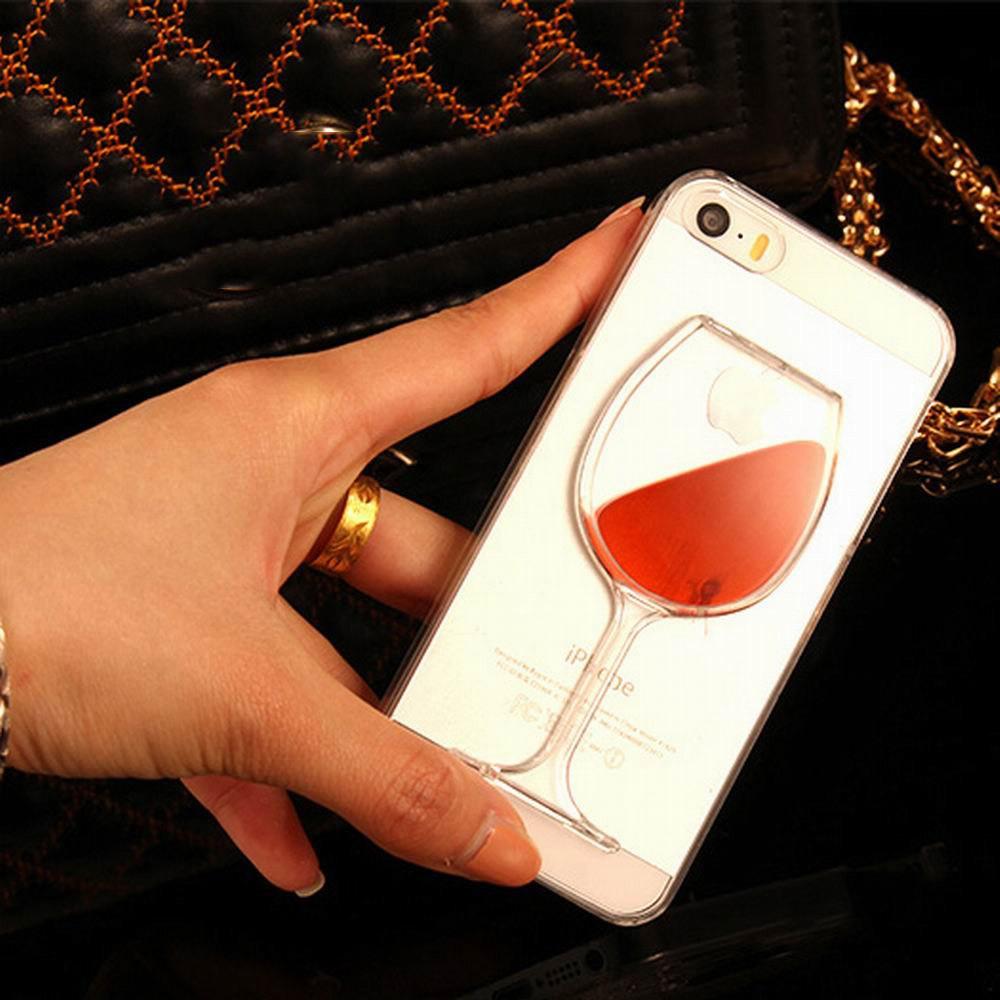 Lovecom para iphone 7 para iphone 4 4s 5 5s se 5c 6 6 S 7 Mais Areia Movediça Líquido Vinho Tinto Telefone Transparente Caso Duro PC de Volta cobrir