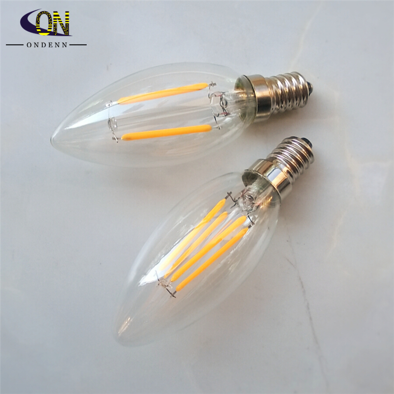 Hot sell Dimmable E14 2W 4W COB Epistar 200-400LM 2800-3200K Warm White LED Filament Candle Bulb(AC 220-240V)(China (Mainland))