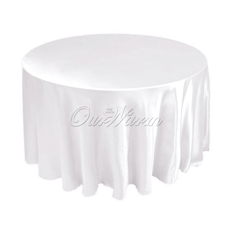 """50pcs 120"""" 305cm Satin tablecloth Polyester Table Cover Cloth white black round overlay(China (Mainland))"""