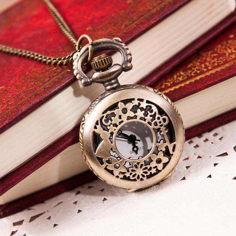 Popular 2015 Unisex Antique Case Pocket Watch Women Vintage Brass Rib Chain Quartz Pocket Watch Train