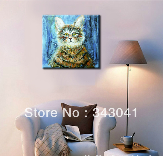 Abstract Cat Animal Surprised expression. Palette knife canvas Oil painting Art, Home decoration, Free shipping, 20 x20 inches(China (Mainland))