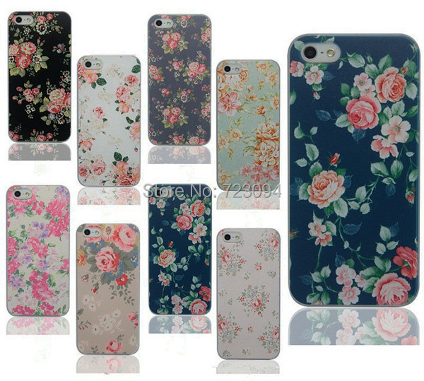 New Arrival Hot Selling Promotion Rushed Case Cover For Apple IPhone 5 5S Fashion Flower Painted Hard Back Phone Skin EC173(China (Mainland))
