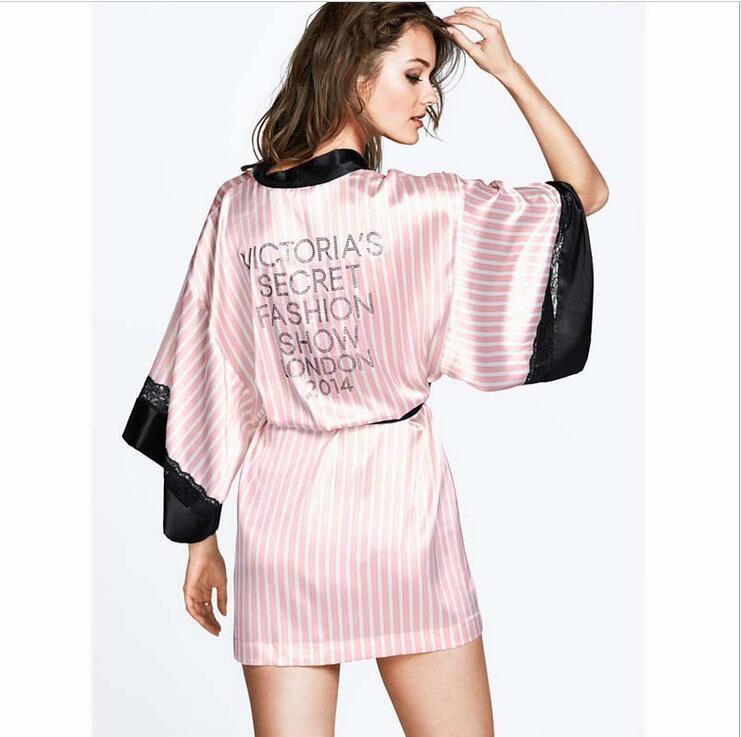 2016 Sexy Secret Women Kimono Bathrobe,Soft Silk Slip Satin Robes for Pajamas Party ,Pink Striped Lace Robe/Sleepwear/Peignoire(China (Mainland))