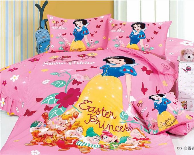 snow white cartoon cute bedding comforter set for kids girls children twin size bedspread duvet. Black Bedroom Furniture Sets. Home Design Ideas
