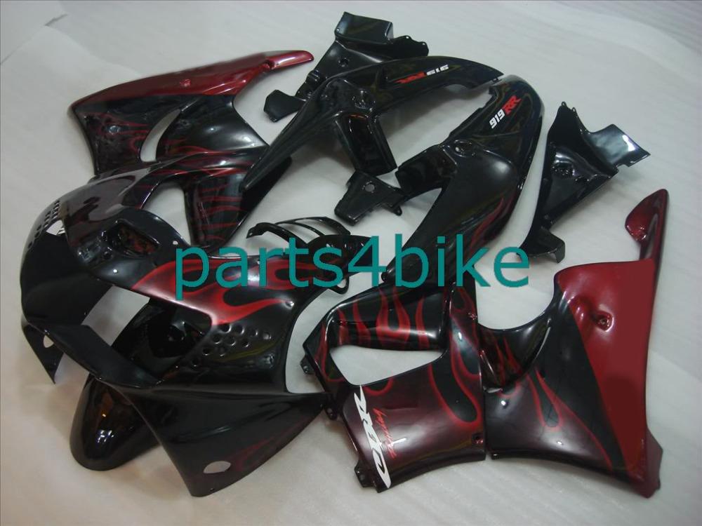 New hot moto parts fairing kit Honda CBR900RR 919 98 99 red flames black bodywork fairings set CBR919RR 1998 1999 12JA