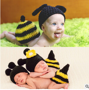 2016 new black baby photo props handmade hats Children bees piece fitted suit children's photography children's photography(China (Mainland))