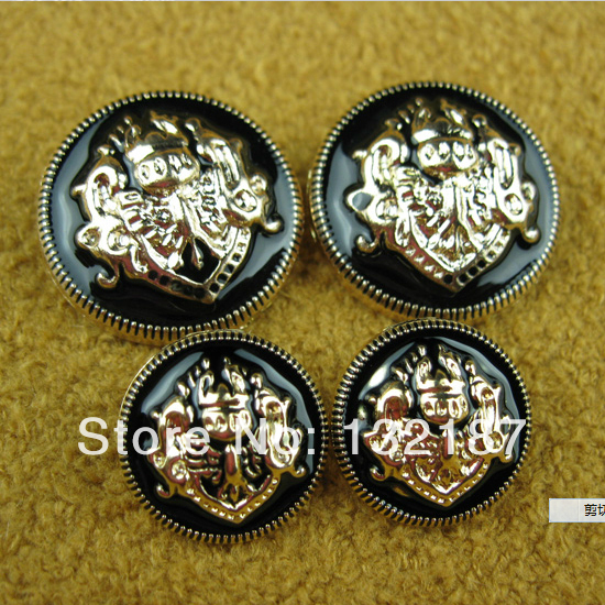 Fashion 30pcs/lot metal alloy sewing buttons gold coat buttons black lacquer suit buttons 25 / 20mm free shipping SF-003(China (Mainland))